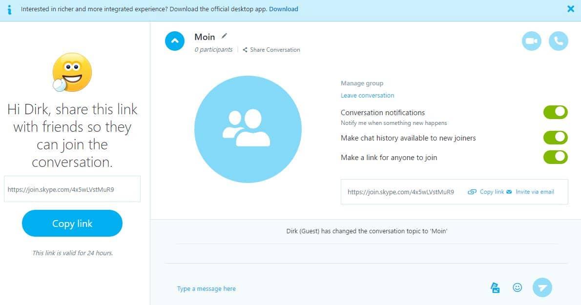 Skype mit Gastzugang